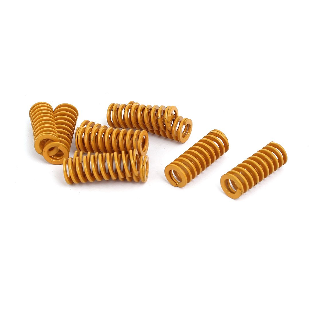 sourcing map 8mm Outer Dia 20mm Long Lightest Load Compression Mould Die Spring Yellow 10pcs