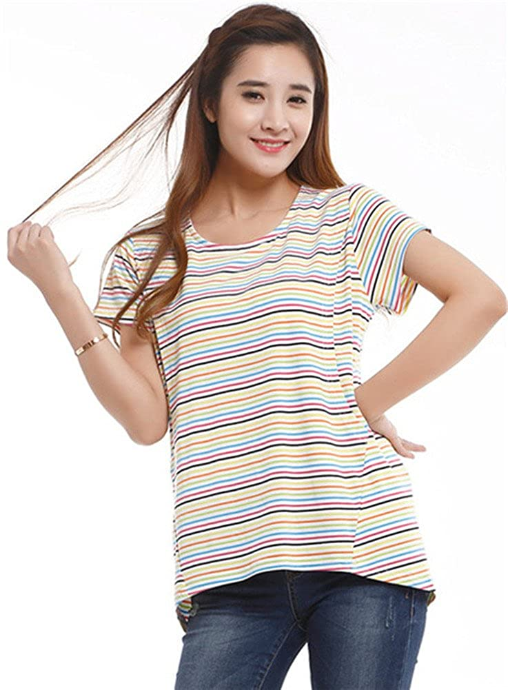 Unimommy Pregnant Women Tops Striped Breastfeeding Postpartum Shirt T-shirt Black)