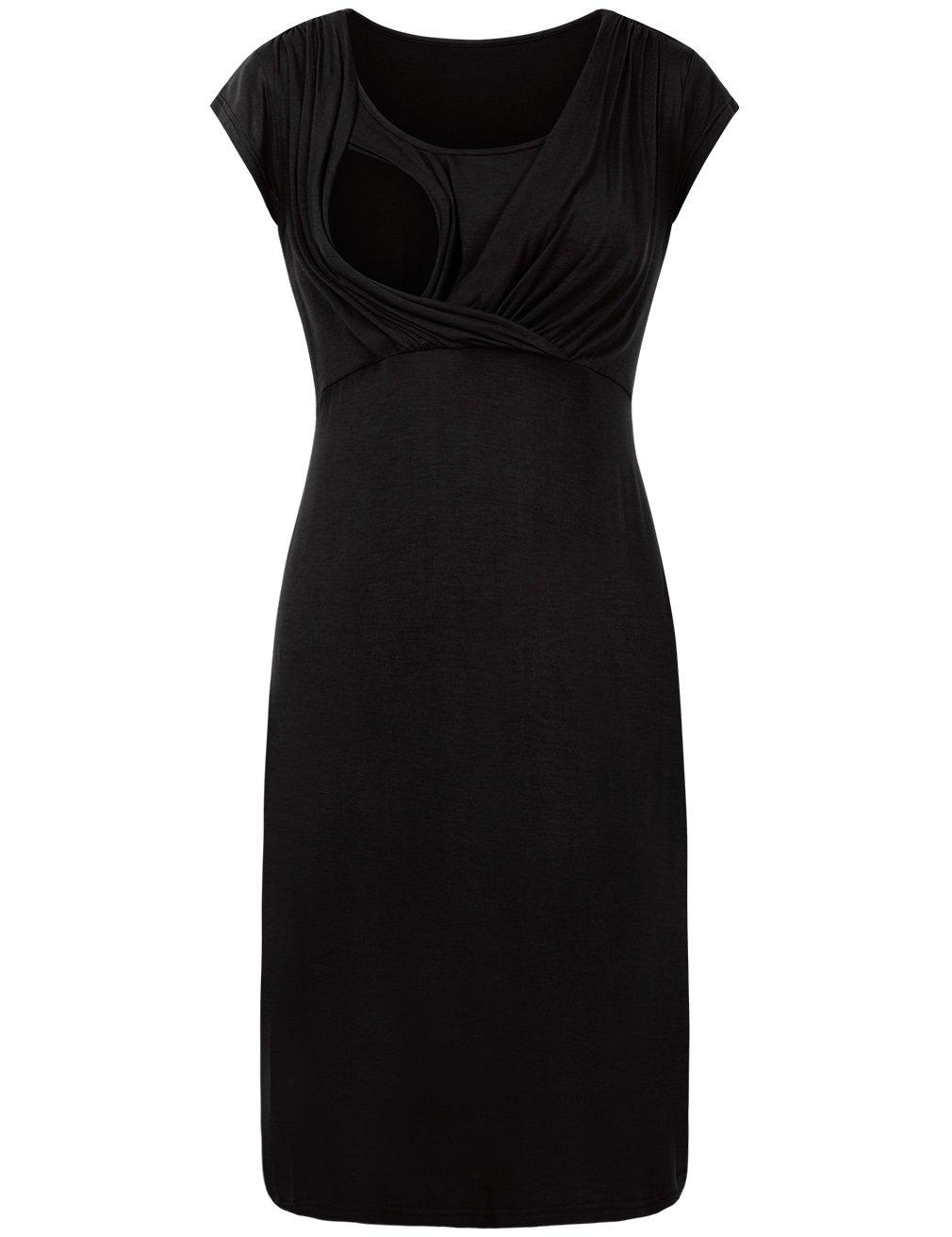 EMVANV Maternity Dress For Women Plus Size, Women Ruched Maternity Dress Casual Short Sleeve Round Collar Dress Black L