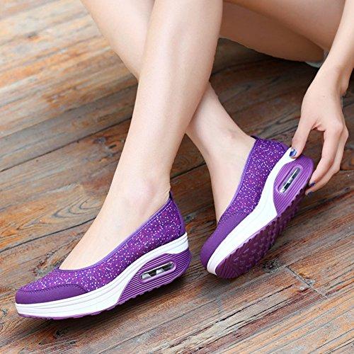 Mujer Sandalias De Plataforma Tonificación Zapatos Casual Fitness Trabajo Out Height-Increasing Sneaker Púrpura