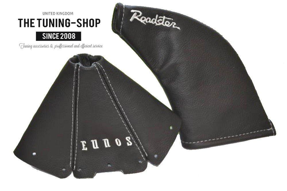 The Tuning-Shop Ltd For Mazda Mx-5 Mk1 NA 1989-97 Shift /& E Brake Boot Black Leather White EUNOS /& ROADSTER Edition Embroidery
