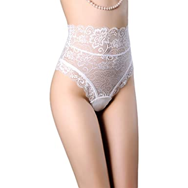 c82ba8ca71 HuntGold Women s Hollow Out Thongs Lace G-String Sexy Panties High Waist  Bandage Underwear Briefs  Amazon.co.uk  Clothing