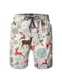 Vintage Christmas Elements Pattern Men's Water Sports Beach Shorts