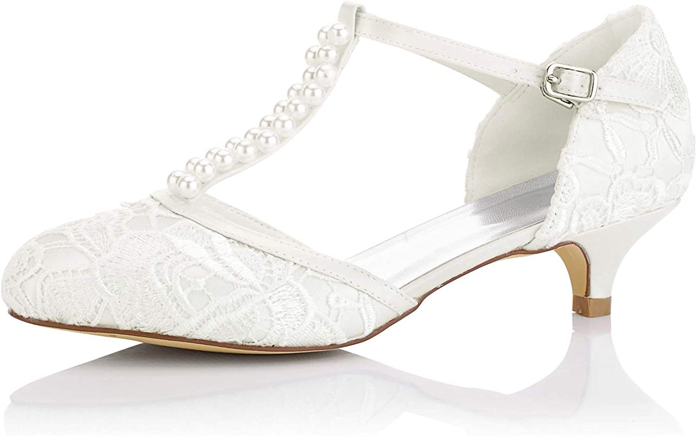 JIA JIA Zapatos de Novia de Las Mujeres 01129 Cerrado Dedo del Pie Correa en T Bajo Talón Satén de Encaje Bombas de Imitación Zapatos de Boda