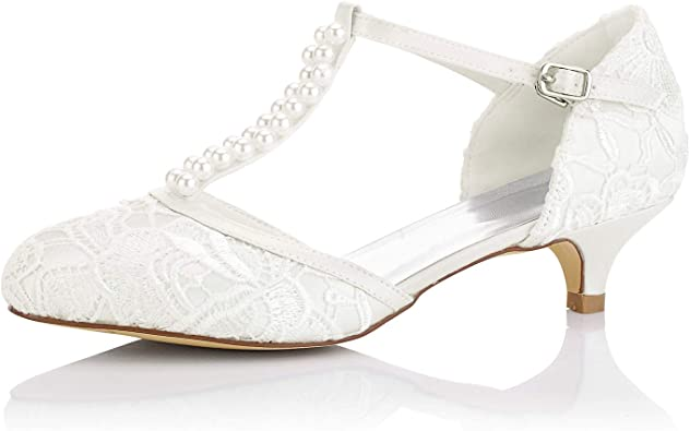 Ladies Womens Court Shoes Ankle Strap Spot Lace Mid Heel Couture Size