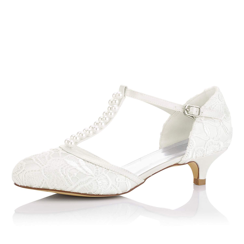 JIA JIA Zapatos de Novia de Las Mujeres 01129 Cerrado Dedo del Pie Correa en T Bajo Talón Satén de Encaje Bombas de Imitación Zapatos de Boda Color Marfil,Tamaño 39