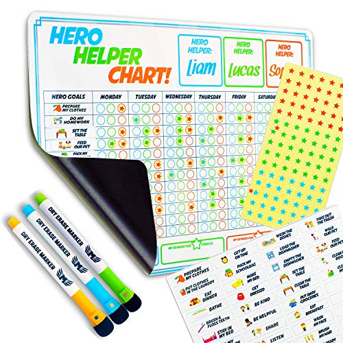 Chore Chart for Multiple Kids - Magnetic Reward Chart - Includes Behavioural Chore Chart for Kids - Child Friendly Chores, Potty Train to Manners & Incentive Stars - Best for Learning Responsibility