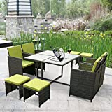 Cheap iKayaa 9PCS Outdoor Conversation Set Rattan Wicker Nesting Dining Table Chairs Patio Furniture