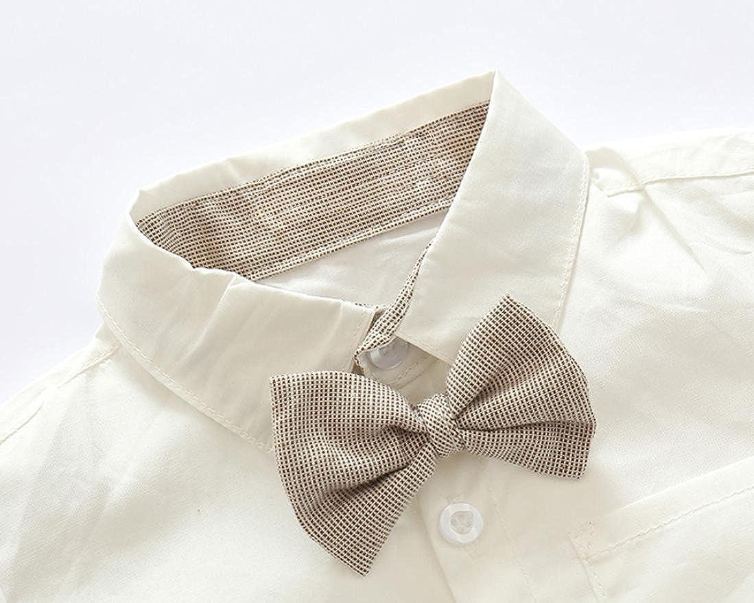 Kids Baby Boys Summer Gentleman Bowtie Short Sleeve Shirt+Suspenders Shorts Set Summer Outfit TM Jchen for 0-3 T Kids,