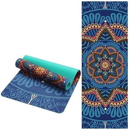 JINSEQ 6 MM Lotus Pattern Suede TPE Yoga Mat Pad Antideslizante Adelgazamiento Ejercicio Fitness Gimnasia Mat Body Building Esterilla Pilates