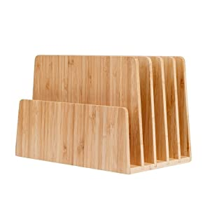 MobileVision Bamboo Desktop File Folder Organizer and Paper Tray, 5 Slots