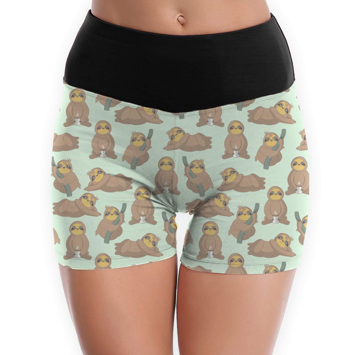 LDGT@DU Womens Yoga Shorts Cute Funny Sloth Pattern Athletic Sports Shorts