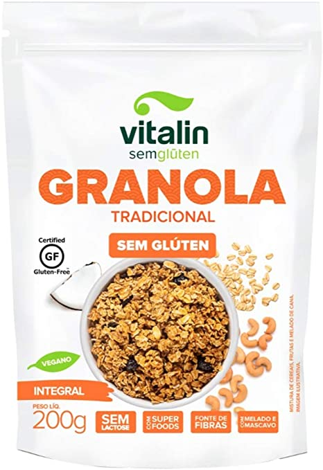 Granola Sem Glúten Tradicional 200g - Vitalin