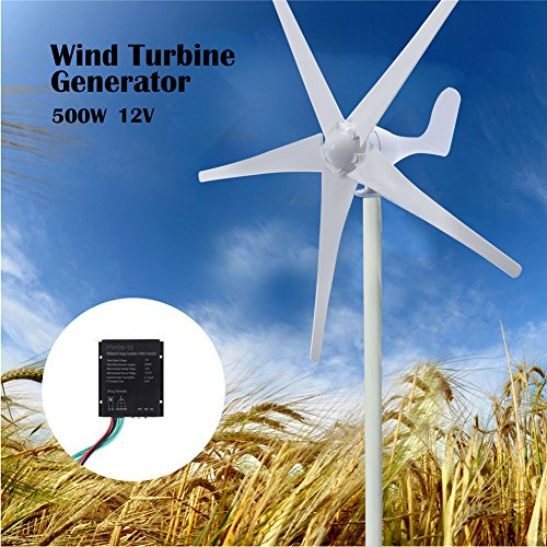 XIDAJIE 500W 5 Blade DC 12V Wind Turbine Generator with Waterproof Charge Controller, US Stock