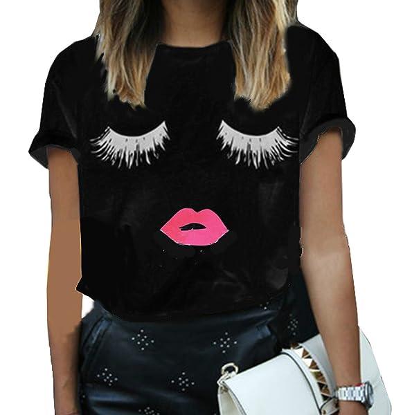 743a8d112b WOZNLOYE Womens Summer Loose Tops Short Sleeve Blouse Shirts Ladies Eyelash  Printing T Shirt Tops