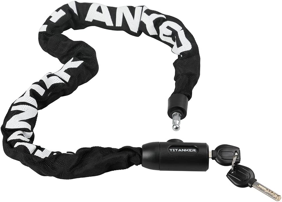 Titanker Bike Chain Lock, 3.3ft Security Anti-Theft Bike Lock Chain with Keys Bicycle Chain Lock Bike Locks for Bike, Motorcycle, Bicycle, Door, Gate, Fence, Grill (6mm Thick Chain x 3.3 Feet)