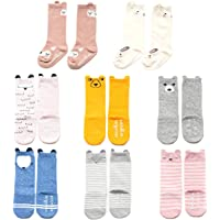 Baby Toddler Girls Knee High Grip Socks, Anti Slip Skid Animal Stockings 8 Pairs