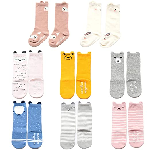 a42353ddd6d0b Nuziku Baby Toddler Girls Boys Knee High Socks, Kid Anti Slip Cartoon  Animal 8 Pairs Cotton Stockings