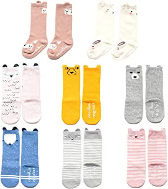 Baby Toddler Girls Knee High Grip Socks, Anti Slip Skid Animal Stockings 8 Pairs