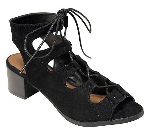2a05745c29a X2B Wishy-1 Women s Open Toe Lace up Caged Slingback Chunky Heel Suede  Sandals Black