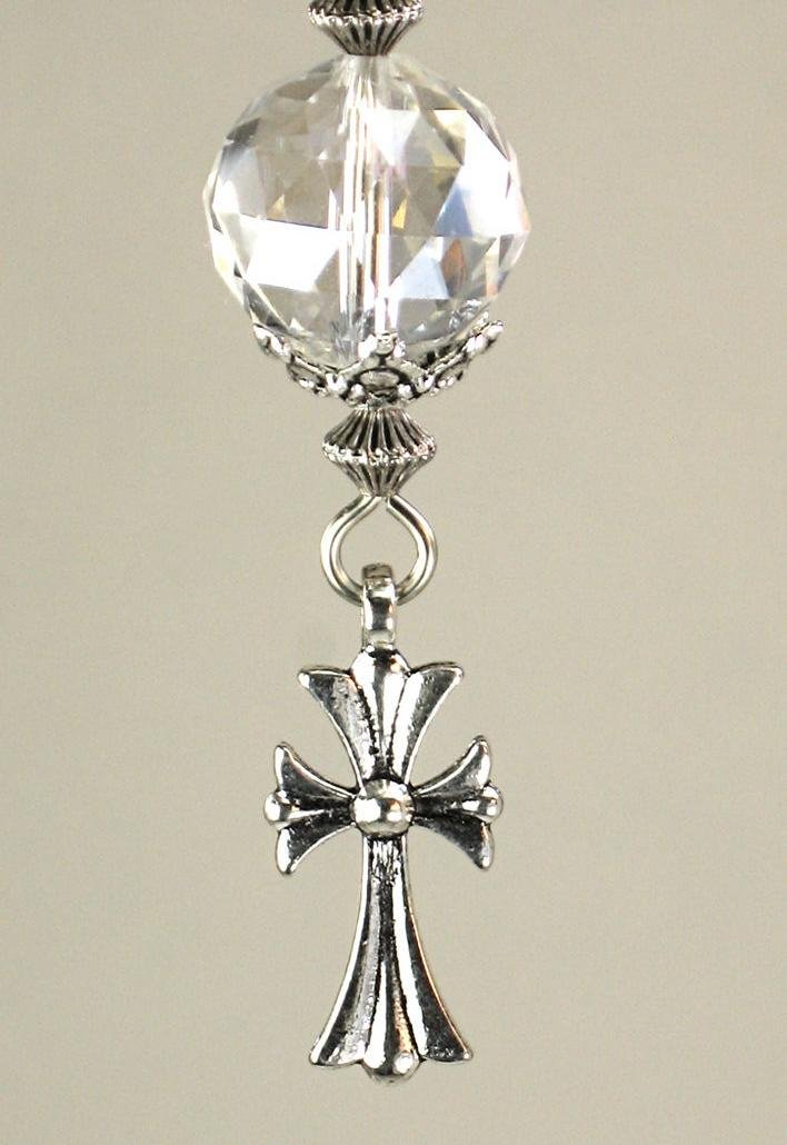 Crystal Clear Faceted Glass with Silvery Fleur de Lis Christian Cross Ceiling Fan Pull/Light Pull Chain