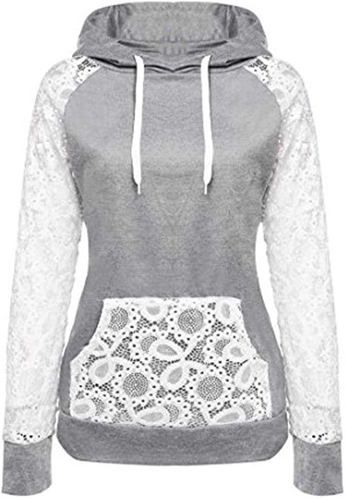 2019 Women's Hoodies,Lace Patchwork Sweatshirt Pullover Hoodie Outerwear Coat Tops by NEWONESUN