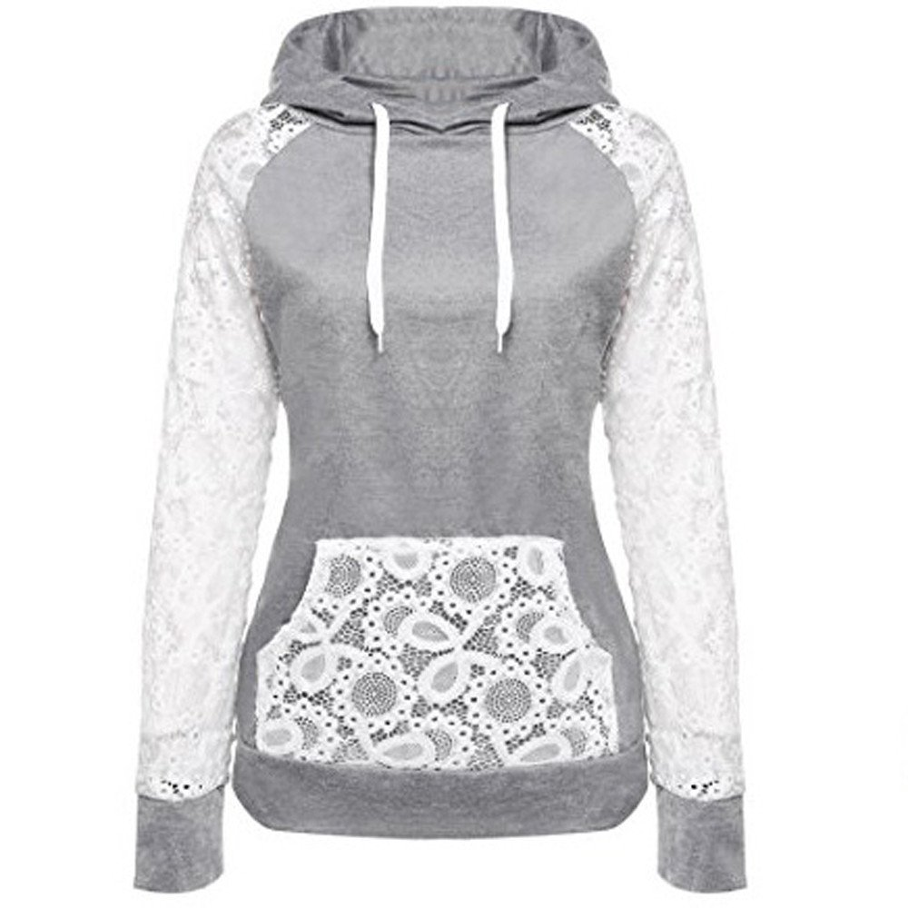 Zaidern Women Hooded Sweatshirts Girls Lace Patchwork Sweatshirt Pullover Hoodie Coat Outerwear Tops with Pockets
