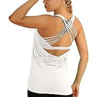 icyzone 2 en 1 Camiseta de Fitness Deportiva de Tirantes para Mujer Cruzado Deportivo