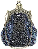 Christal Town Women's Antique Beaded Party Clutch Vintage Purse Evening Handbag Navy