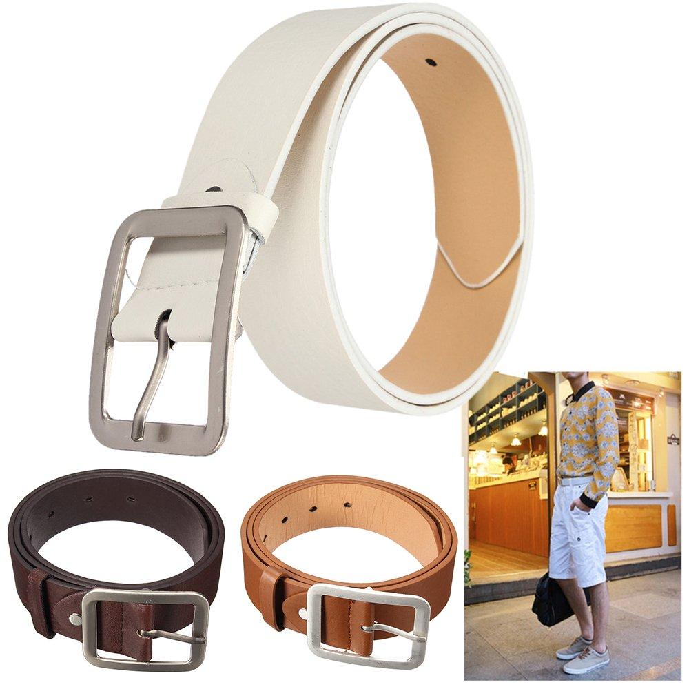 Academyus Mens Fashion Leather Waistband Wide Strap Business Dress Belt