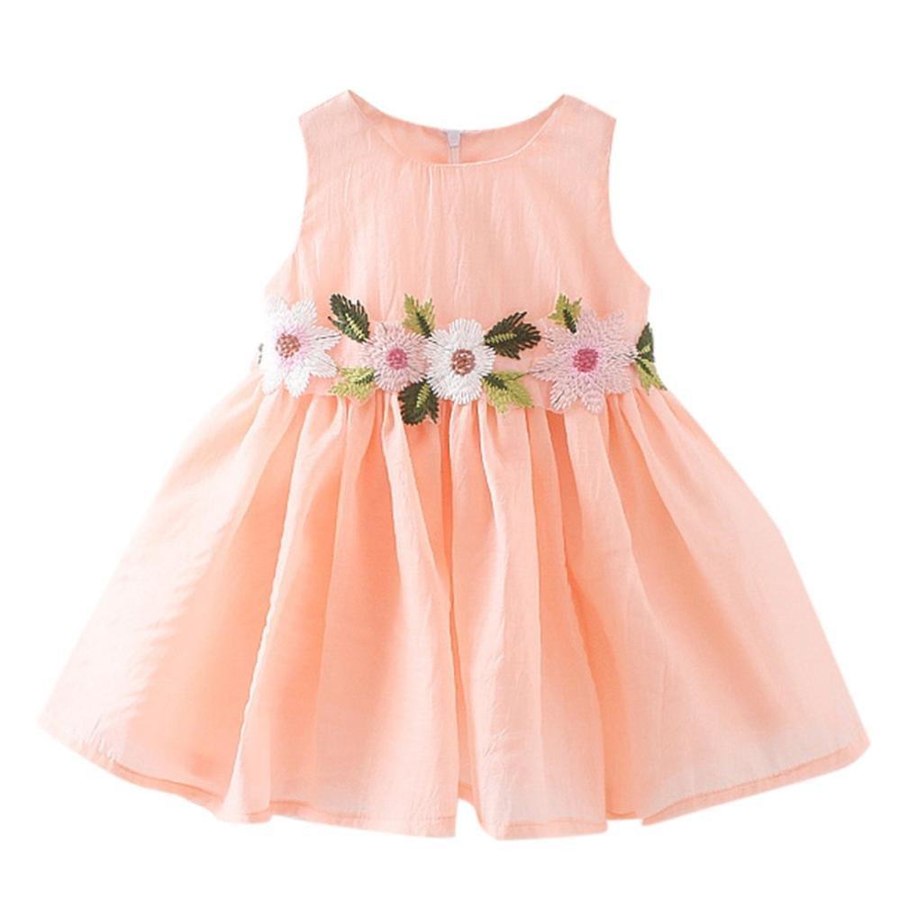 TiTCool Little Girls Dresses, Toddler Summer Dress Sleeveless Cute Waist Flowers Sundress for 2-4 Years Old (3T, Pink)