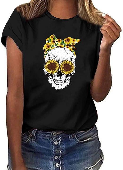 MIS1950s - Camiseta de manga corta para mujer, diseño de calavera y girasol: Amazon.es: Jardín