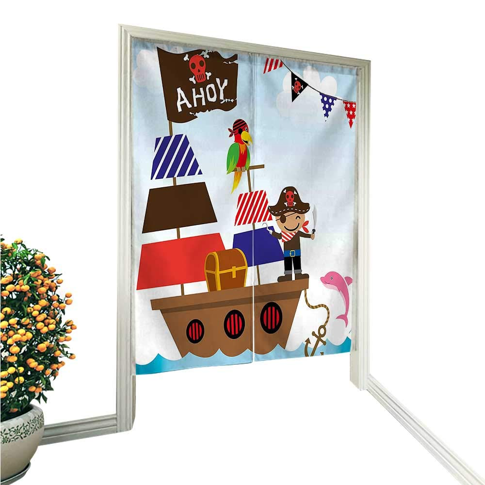 """QianHe Noren Style Doorway Curtain a Boy Cute Pirate Kids Treasure Chest with Ship on Ocean Background Illustration Doorway Curtain Tapestry Modern 36"""" W x 60"""" L"""