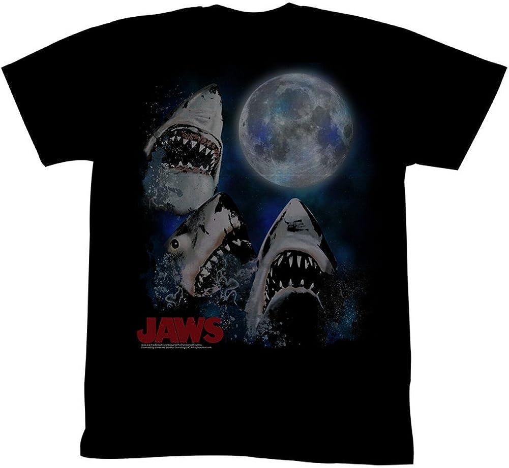 Jaws Movies Three Shark Moon Adult Short Sleeve T Shirt XT Black