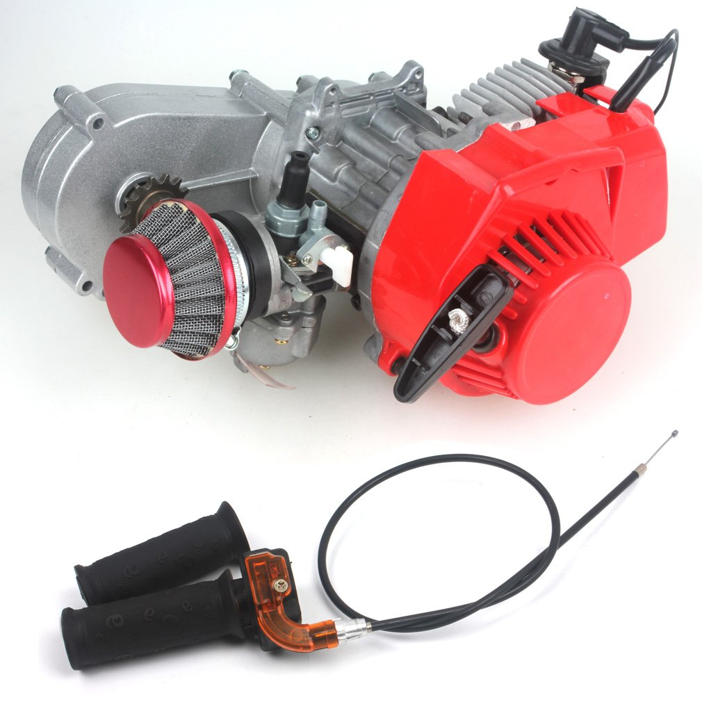 Wingsmoto 47CC 2 Stroke Engine with T8F 14t Gear Box Easy to Start Pocket Bike Mini Dirt Bike Engine DIY Engine + Air Filter + Handle Bar + Throttle Cable EN08B-G-CA