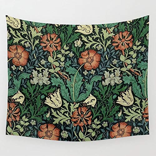 Yutoa-Design William Morris Compton Floral Art Nouveau Pattern Wall Tapestry with Art Nature Home Decorations Wall Hanging Artistic for Living Room Bedroom Dorm Decor