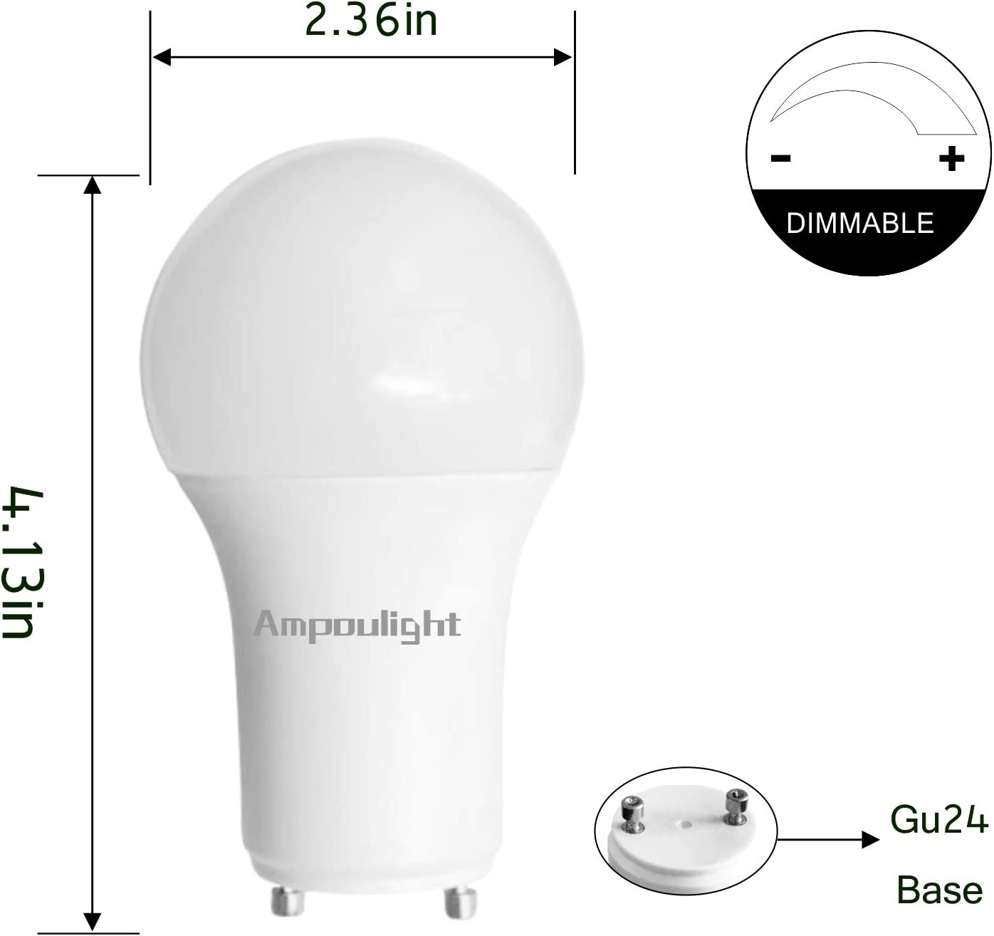 4 Pack 60W Equivalent 810LM 9W Dimmable 3000K Daylight LED Light Bulb 270 Degree Beam Angle Ampoulight LED A19 Bulb with GU24 Base