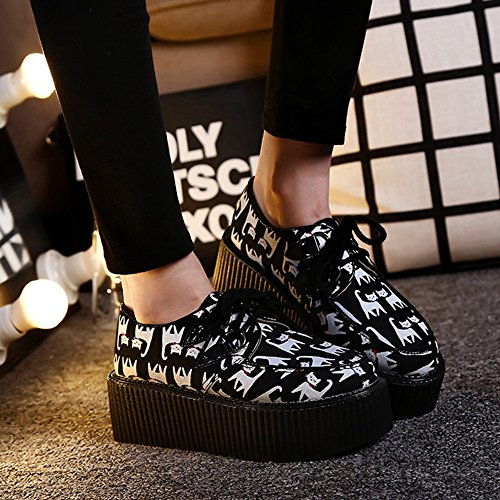 Noir Creepers Plate Cuir Chat Chaussures Punk Lacets forme Femmes Gothique RoseG OWFv88