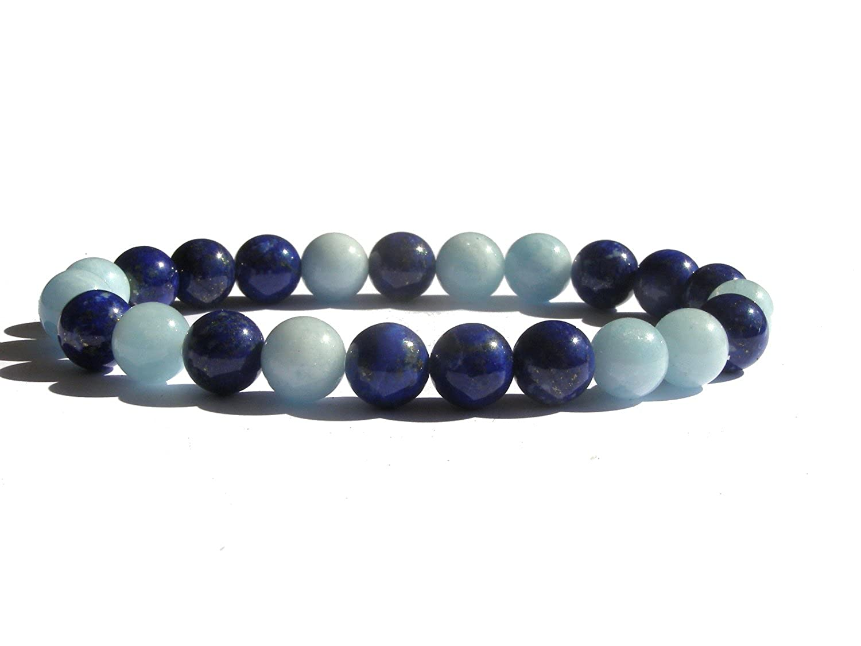 en gemmes Bracelet en aigue marine et lapis lazuli A+ qualit/é Lithoth/érapie Mixte 20 cm Bleu ZENstore