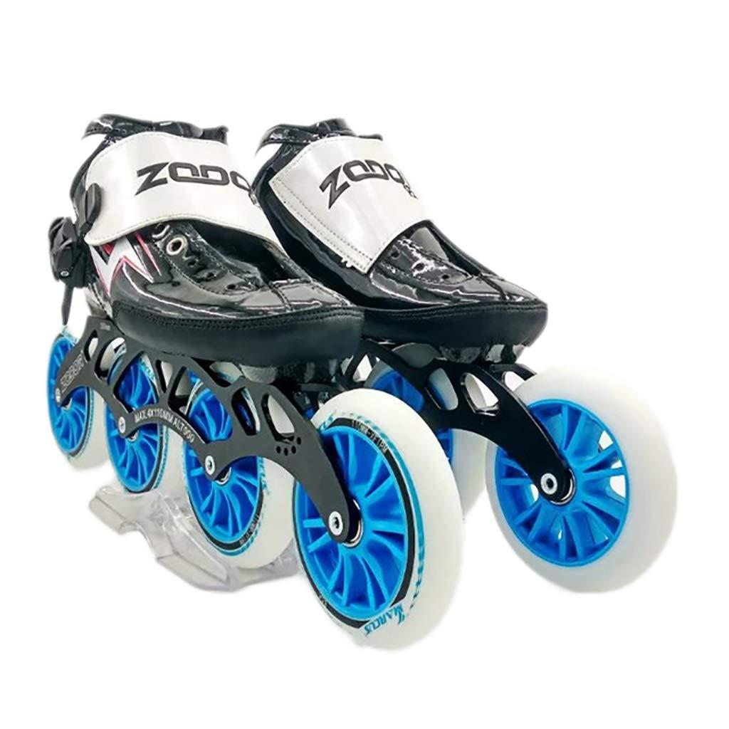 NUBAOgy インラインスケート、90-110ミリメートル直径の高弾性PUホイール、4色で利用可能な子供のための調整可能なインラインスケート (色 : Green, サイズ さいず : 41) B07HR4Q7DL 36|黒 黒 36