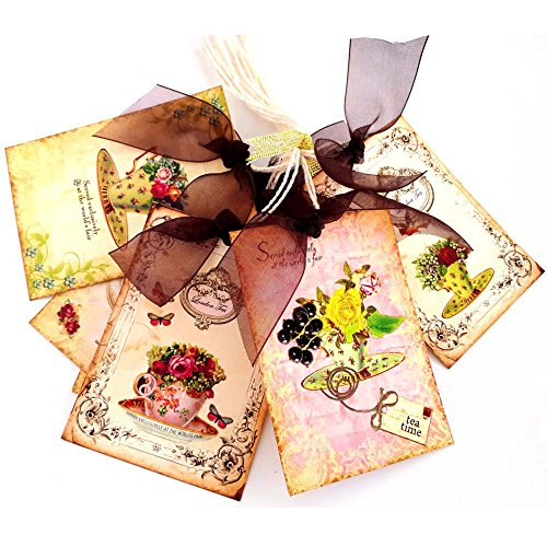 Vintage Afternoon Tea Time Gift Tags - Bridal Baby Shower Birthday Spring Flowers Tags - Set of 8