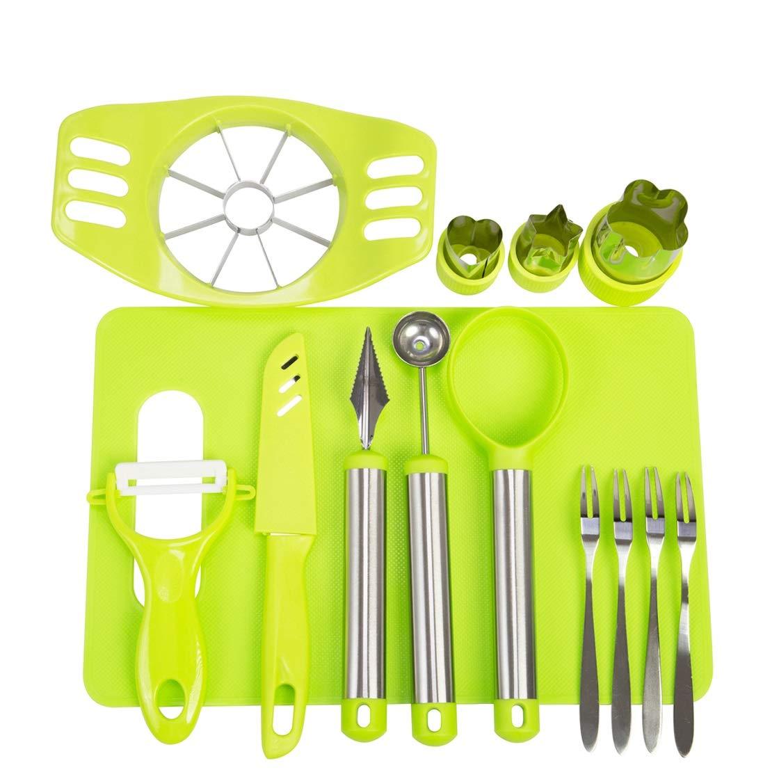 Vegetable Fruit Cutter Shapes Set Fruit Carving Tools DIY Fruit Salad Tool Set Fruit Slicer Kit for Kitchen With Apple Cutter Corer,Citrus Peeler,Chopping Board,Cutter Shapes Set and More