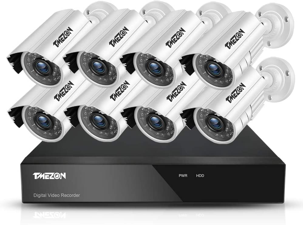 TMEZON 8CH Security Surveillance DVR System AHD 1080N Included 8 Bullet 1080P High 2.0MP CCTV Cameras IP66 Weatherproof, Night Vision, Motion Detection Email Alert