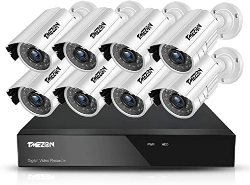 TMEZON 8CH Security Surveillance DVR System AHD 1080N Included 8 Bullet 1080P High 2.0MP CCTV Cameras IP66 Weatherproof