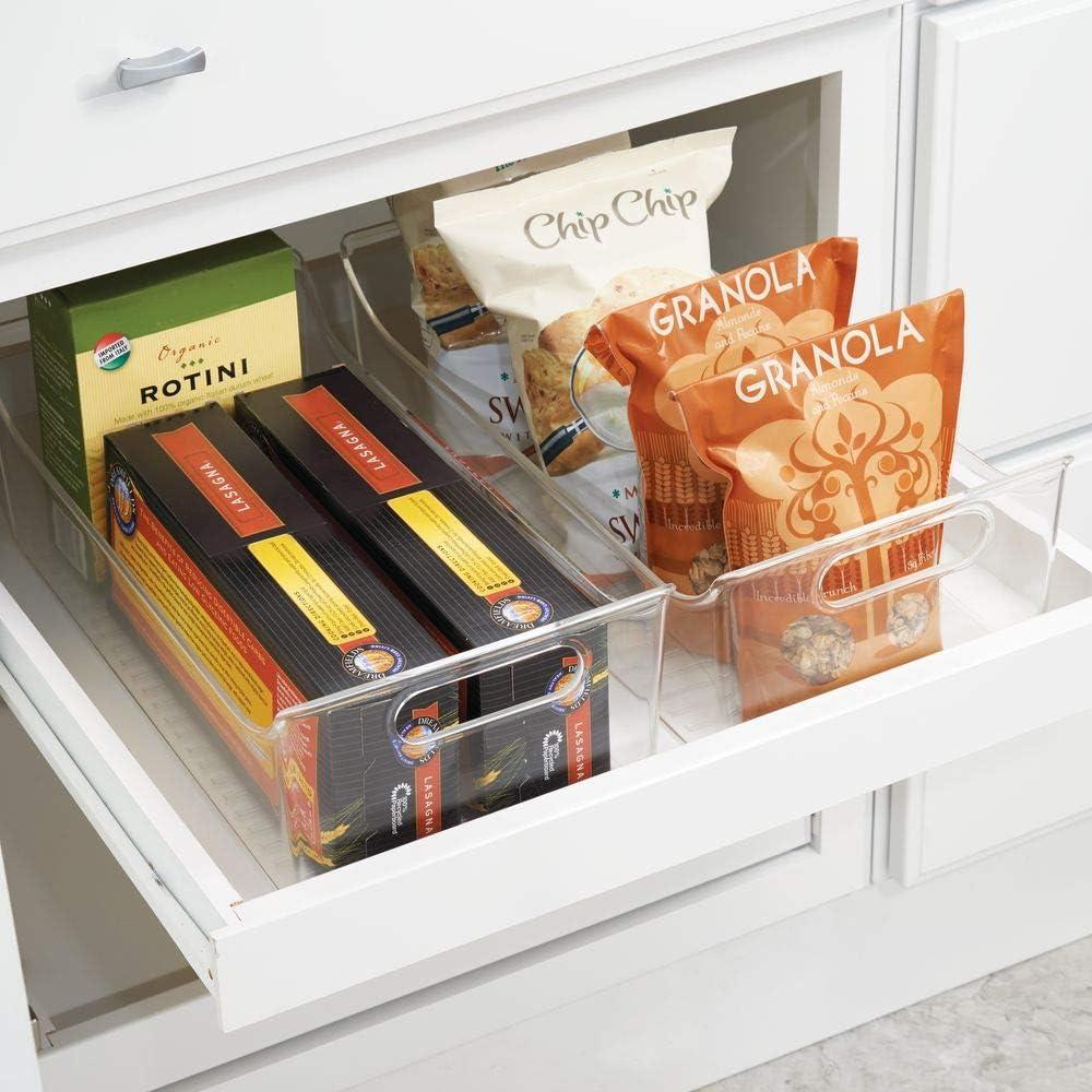 transparente Contenedor transparente de pl/ástico para el armario de la cocina o la nevera mDesign Juego de 2 cajas para nevera con asas Organizador de frigor/ífico largo para almacenar alimentos