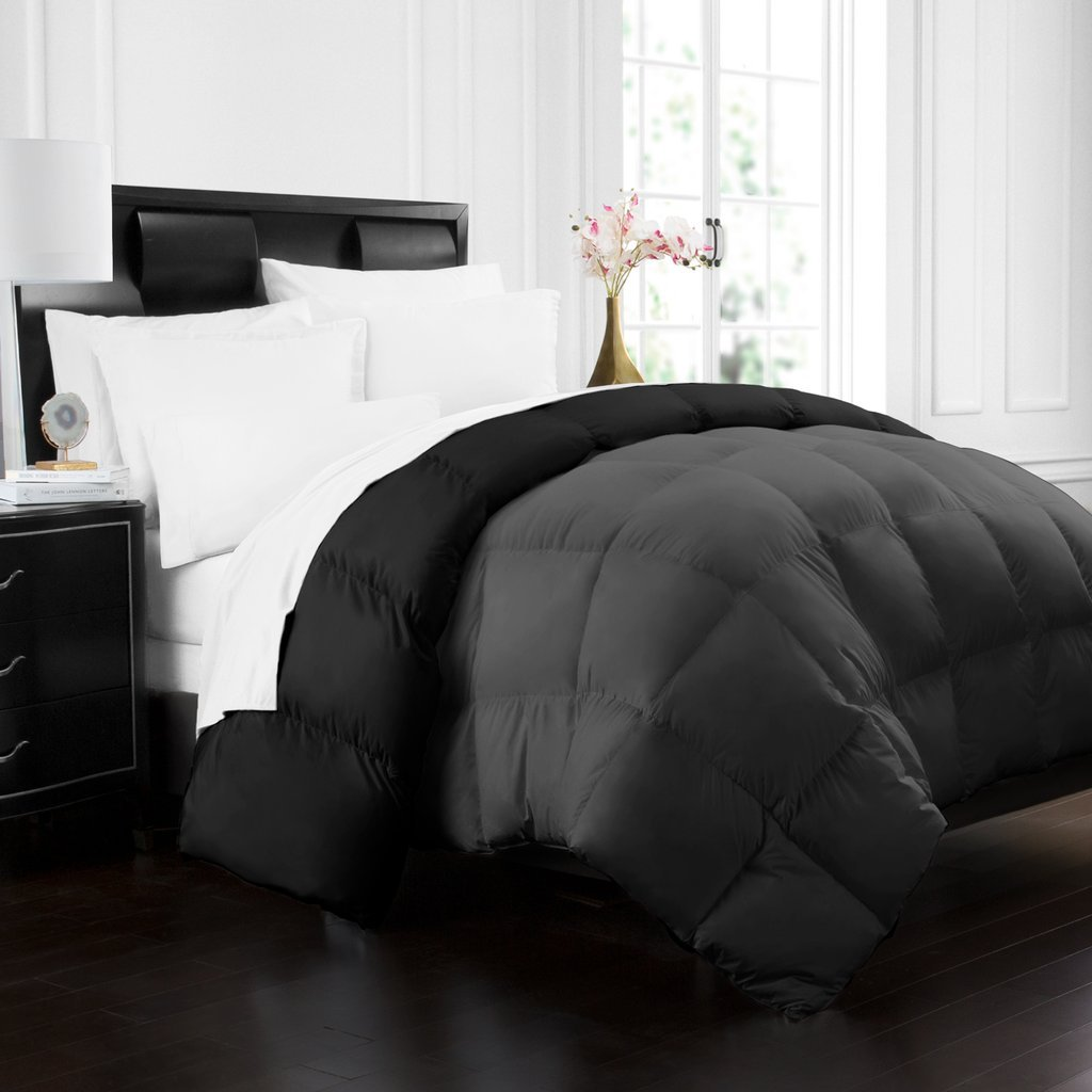 Beckham Hotel Collection 1700 Series Luxury Goose Down Alternative Reversible Comforter - Premium Hypoallergenic - All Season - Duvet - King/Cal King - Grey/Black