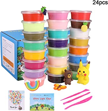 Modeling Clay 24 Colors Air Dry Clay Best Gift For Kids Super Light Magic Clay With Sculpting Tools And Project No Sticky And Non Toxic 24 Colors