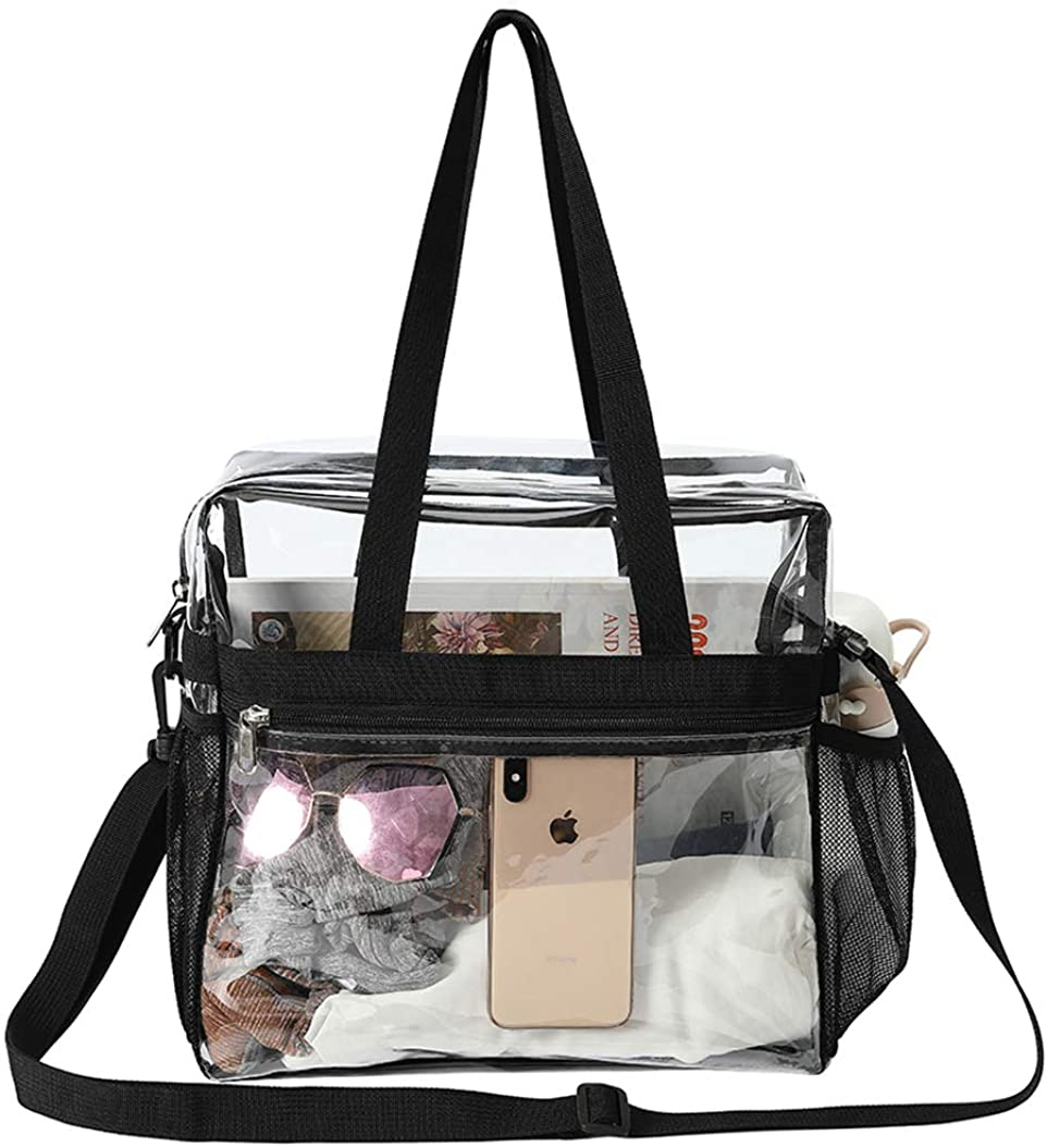 Nesee Clear Plastic Tote Bag Women Transparent PVC Handbag,Stadium Security Travel /& Gym Clear Bag School Perfect for Work Sports Games and Concerts