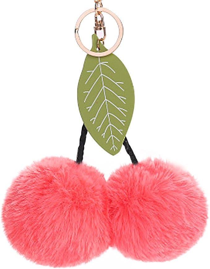 MOIKA Porte-Clefs Mignon Feuilles de Cerisier Fluffy Trousseau Voiture Pendentif Lapin en Fourrure Synth/étique Boule Charme Sac /à Main Porte-clef Porte-cl/és Porte-Pompons Cadeaux