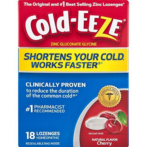Cold-EEZE Cold Remedy Lozenges All Natural Cherry, 18 Count, Cold Remedy Lozenges, Pharmacist Recommended Zinc Lozenge, Shortens Colds